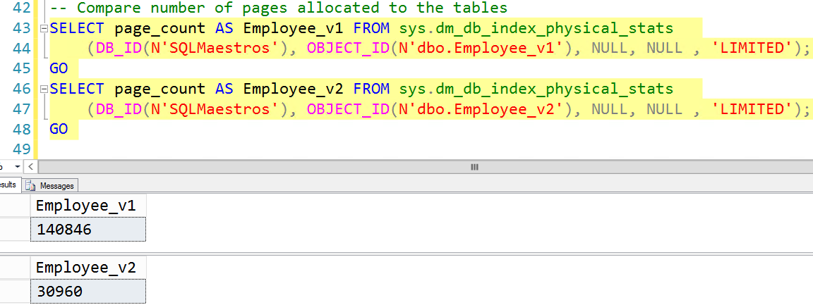 data pages used to store the data for the two tables VARCHAR datatype and CHAR datatype