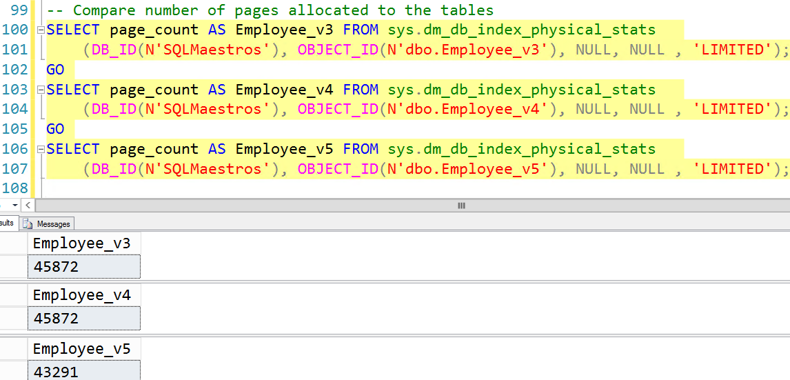 page count for the three tables VARCHAR datatype and CHAR datatype