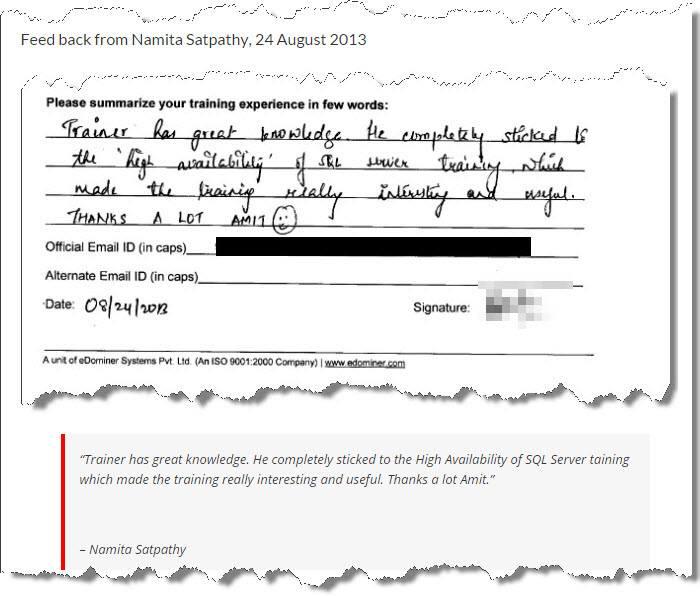 SQL Server Training, SQL Server High Availability, Pune August 2013