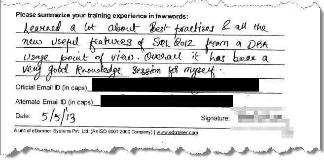 SQL Server Training, SQL Server 2012, Pune May 2013