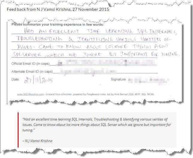 SQL Server Performance Tuning Master Class, Hyderabad November 2015